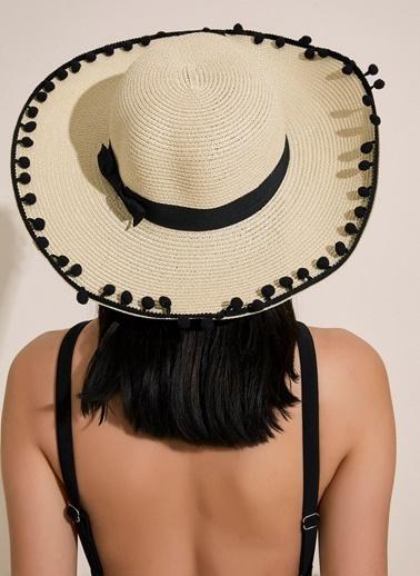 Morhipo Beach Ponpon Kenarlı Fiyonk Detaylı Hasır Şapka Bej